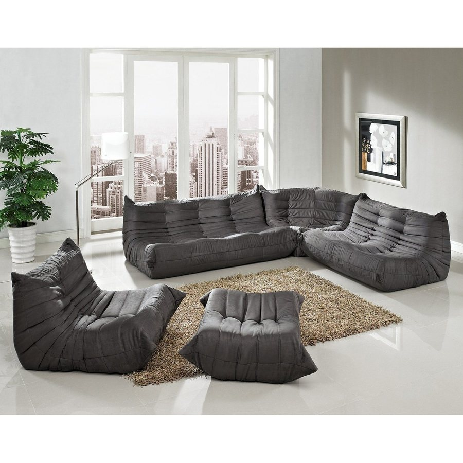 modway waverunner light gray microfiber sectional