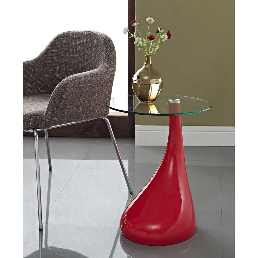 Modway Teardrop Gloss Bright Red Round End Table