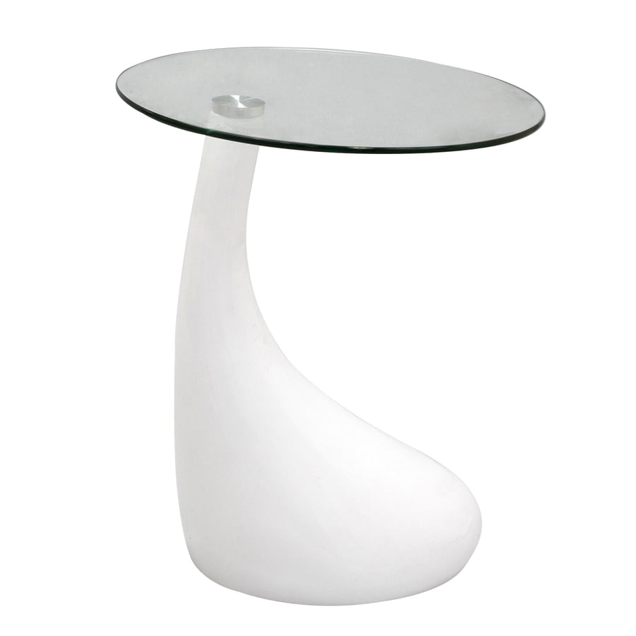 Modway Teardrop Gloss White Round End Table