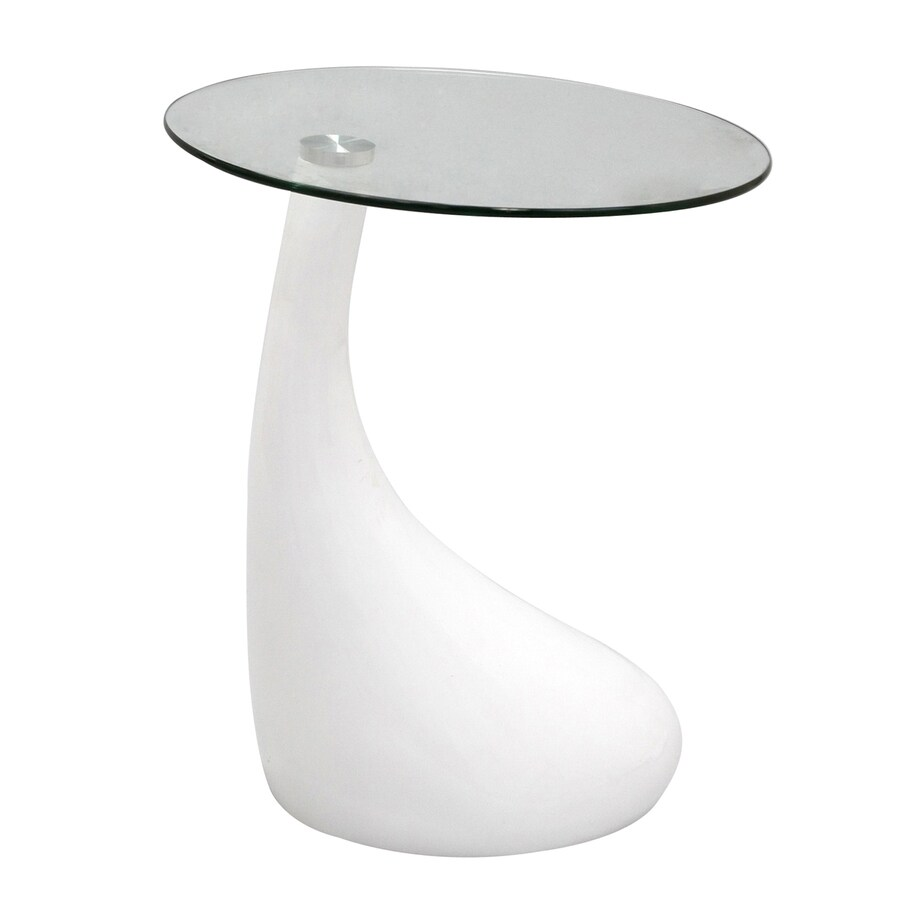 Modway Teardrop Gloss White End Table