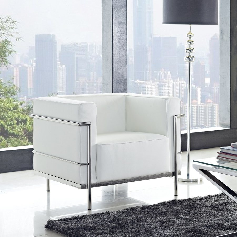 Modway Charles Grande White Leather Accent Chair