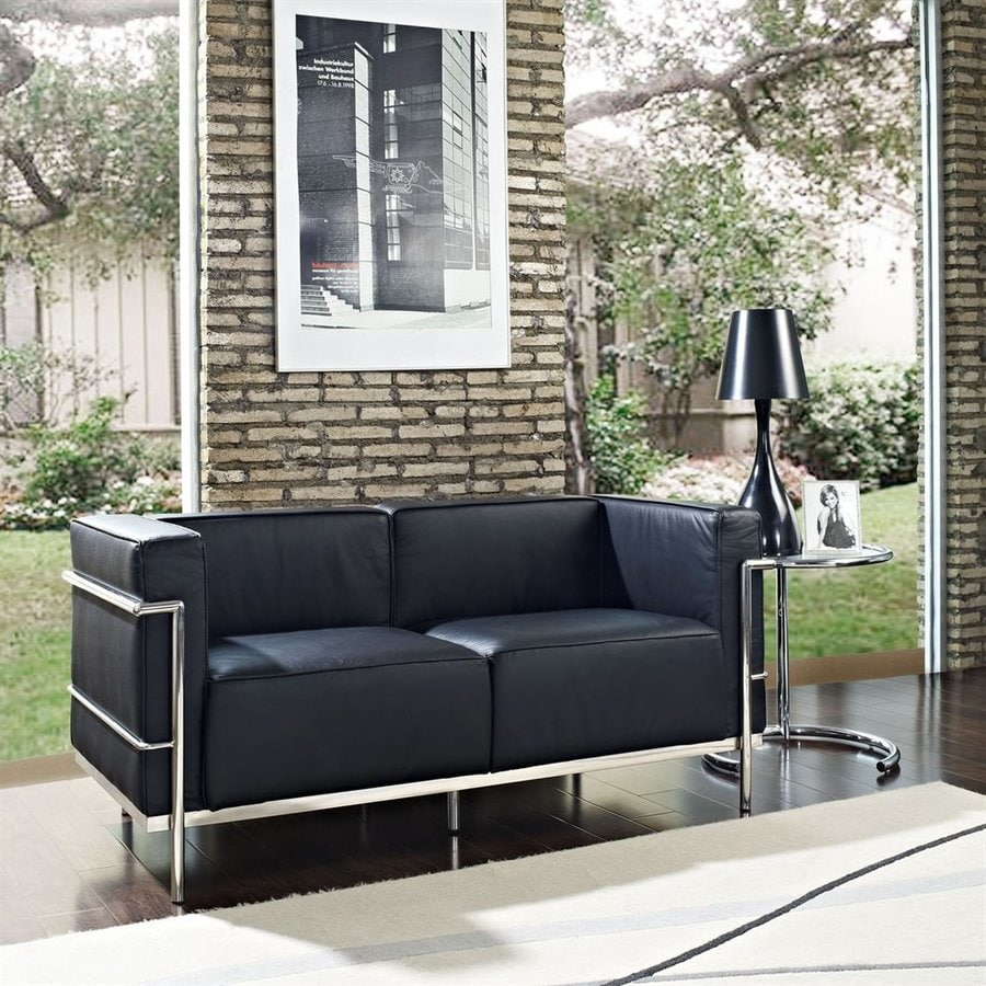Modway Charles Grande Black Leather Loveseat