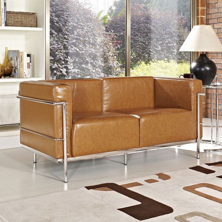 Modway Charles Grande Tan Leather Stationary Loveseat