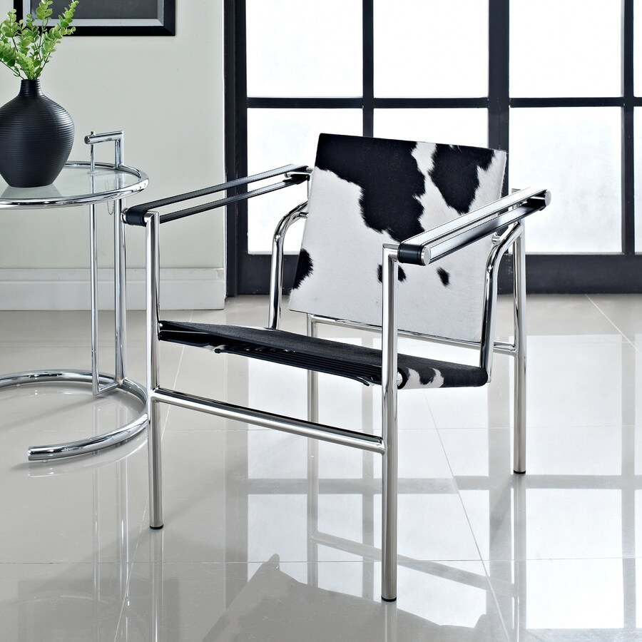Modway Le Corbusier Black/White Leather Accent Chair