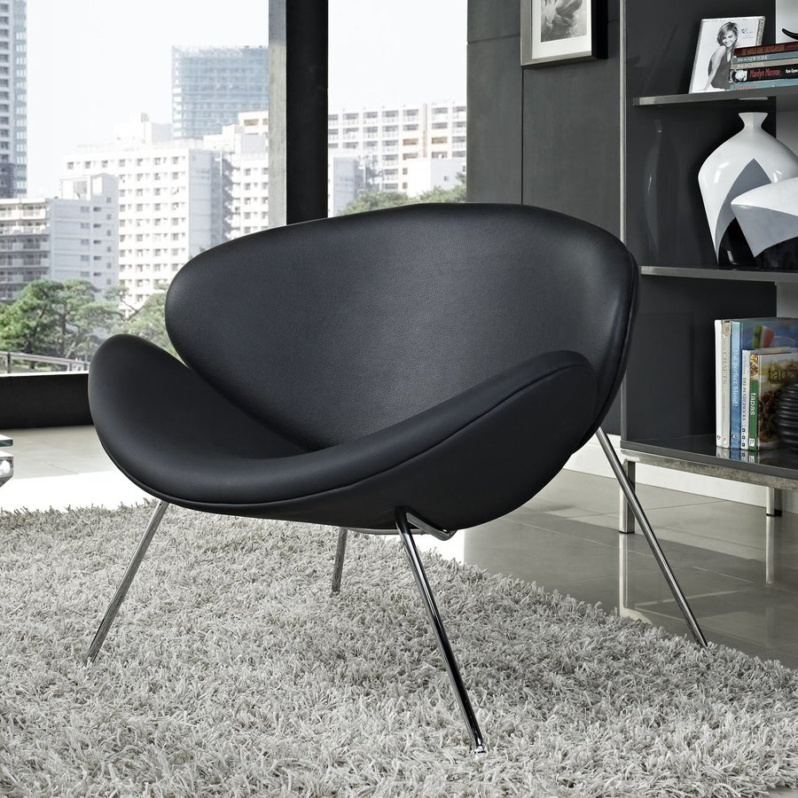 Modway Nutshell Black Vinyl Accent Chair