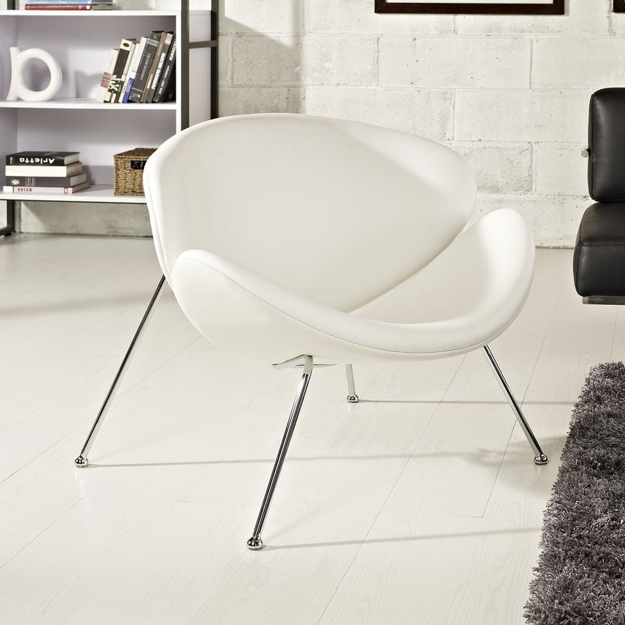 Modway Nutshell White Vinyl Accent Chair
