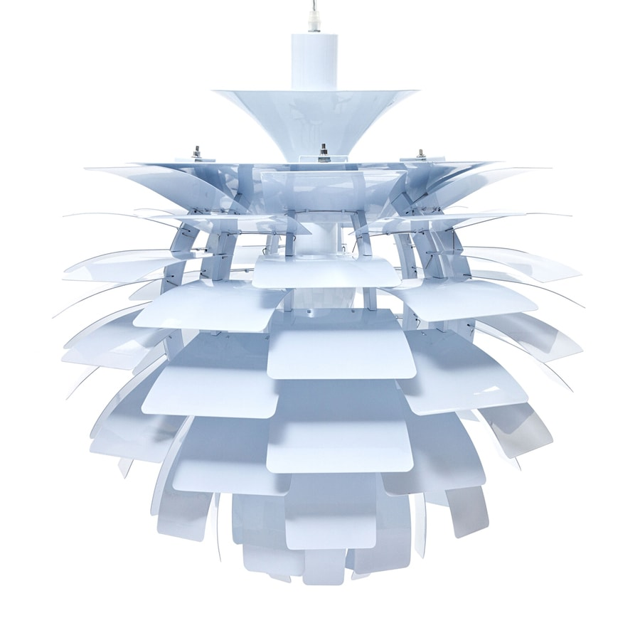 Modway Petal 23.5-in White Plug-in Single Geometric Pendant