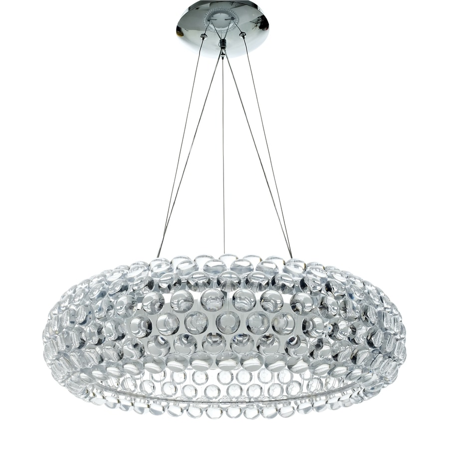Modway Halo 25.5-in Clear Plug-in Single Clear Glass Drum Pendant