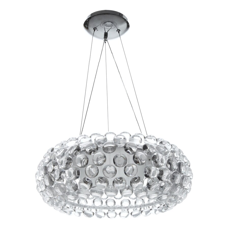 Modway Halo 19.5-in Clear Plug-in Single Clear Glass Drum Pendant