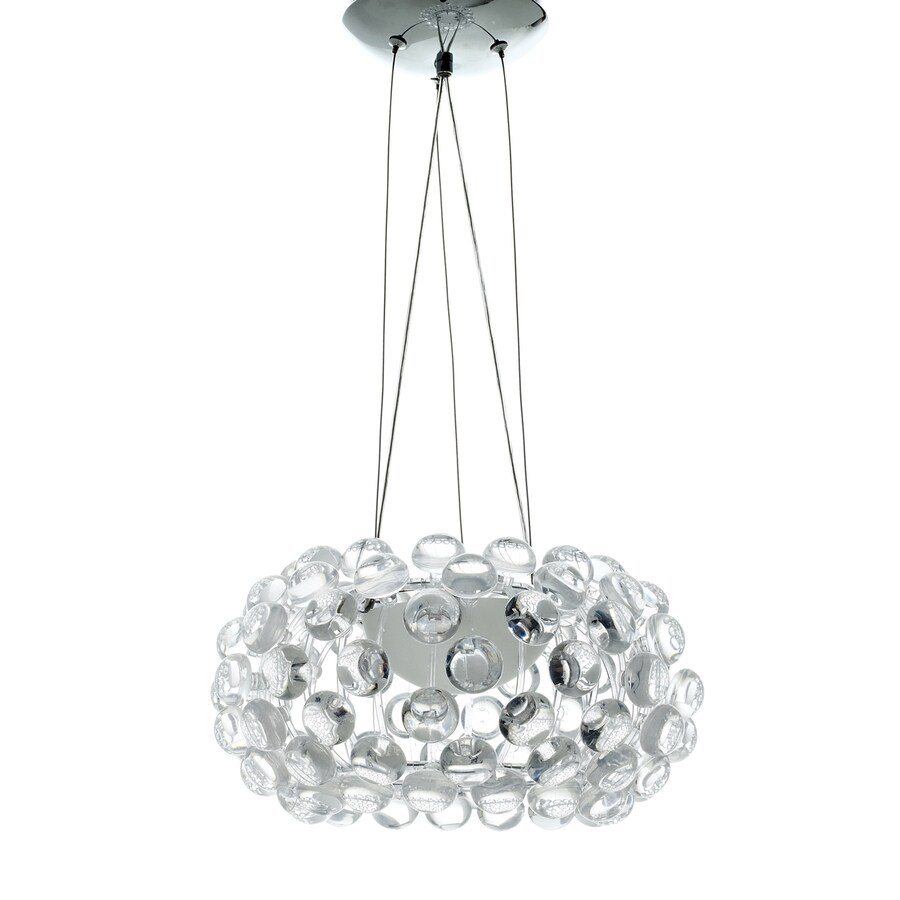 Modway Halo 14-in Hardwired Single Clear Glass Drum Pendant