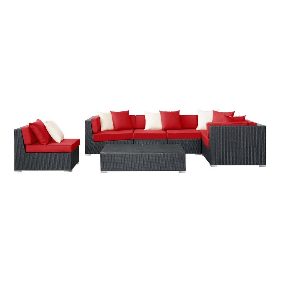 Modway Lambid 7-Piece Wicker Patio Conversation Set