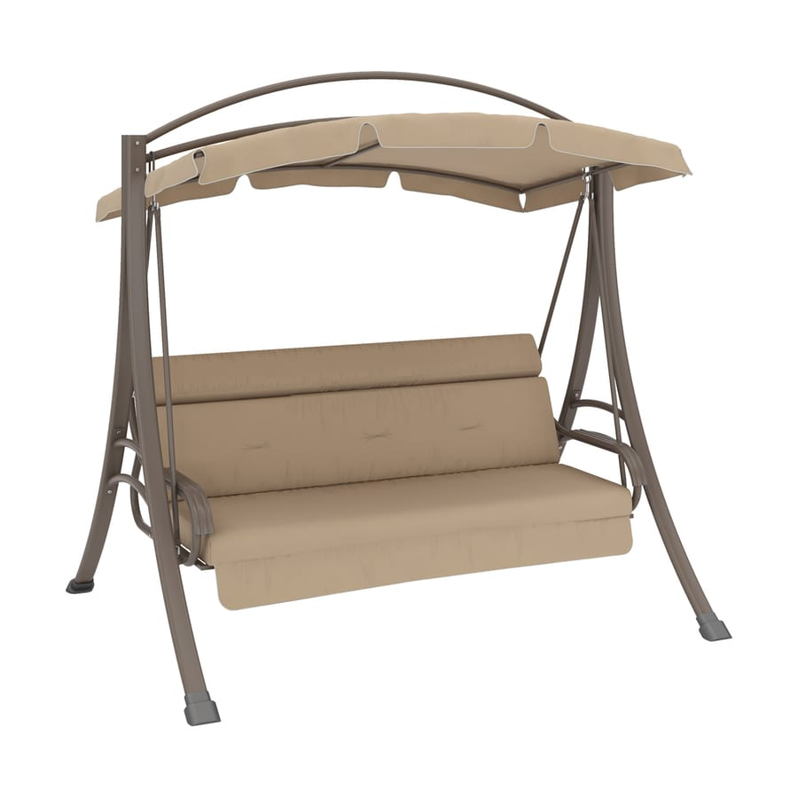 Corliving Nantucket Warm Grey Porch Swing With Arched Canopy