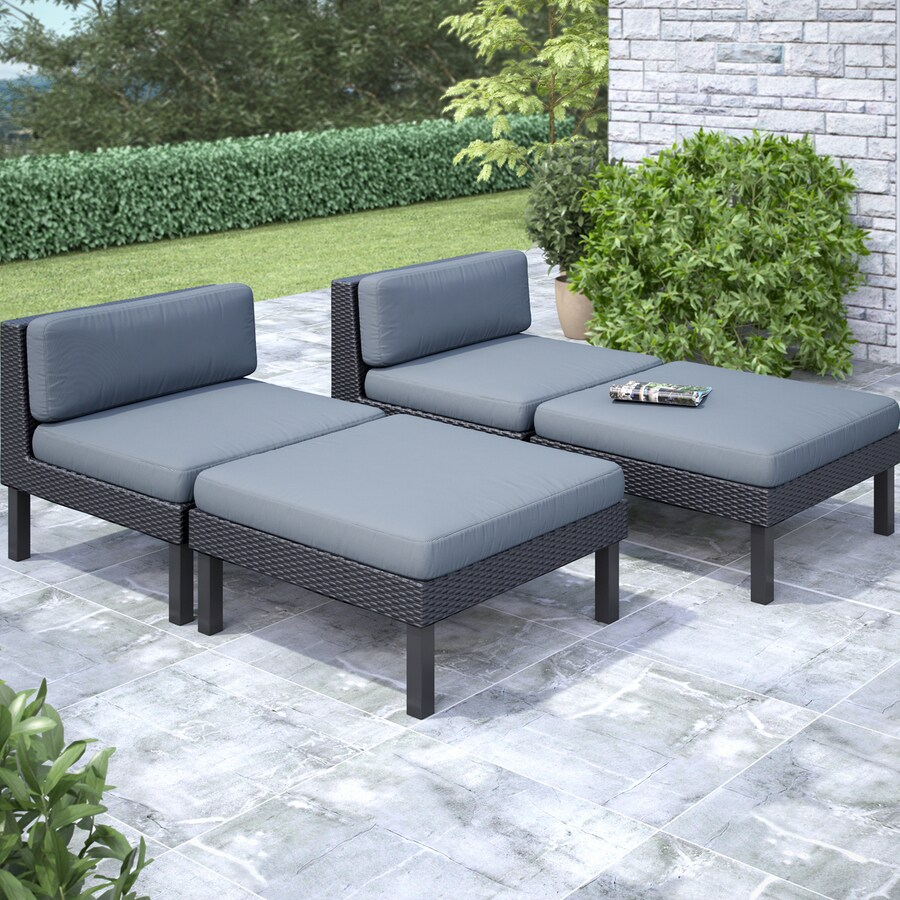 CorLiving Oakland 4-Piece Wicker Patio Conversation Set