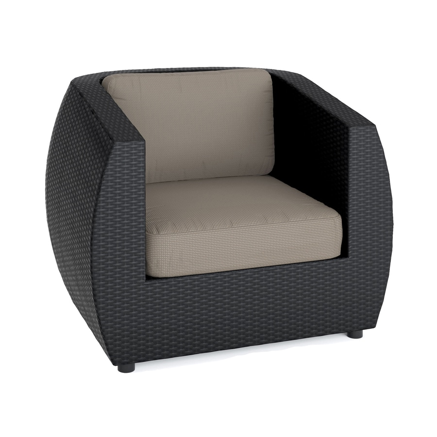 CorLiving Seattle Textured Black Wicker Patio Conversation Chair