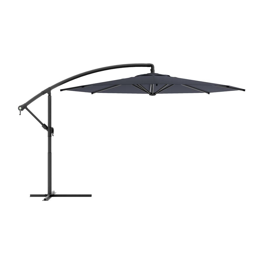 CorLiving CorLiving Black Offset Patio Umbrella with Base (Common: 9.5-ft W x 11-ft L; Actual: 9.58-ft W x 11-ft L)