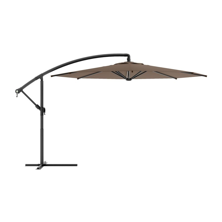 Shop corliving sandy brown offset 9 5 ft patio umbrella for Balcony umbrella
