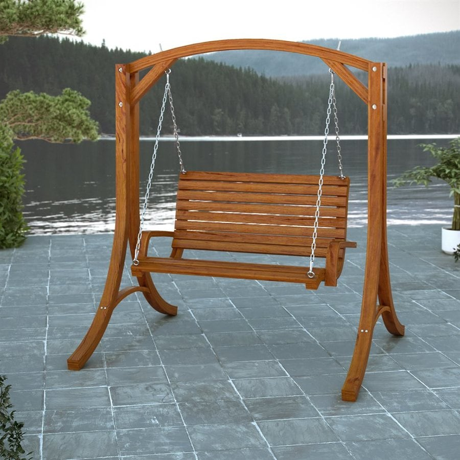Shop Corliving Wood Canyon Cinnamon Brown Porch Swing At Lowes Com