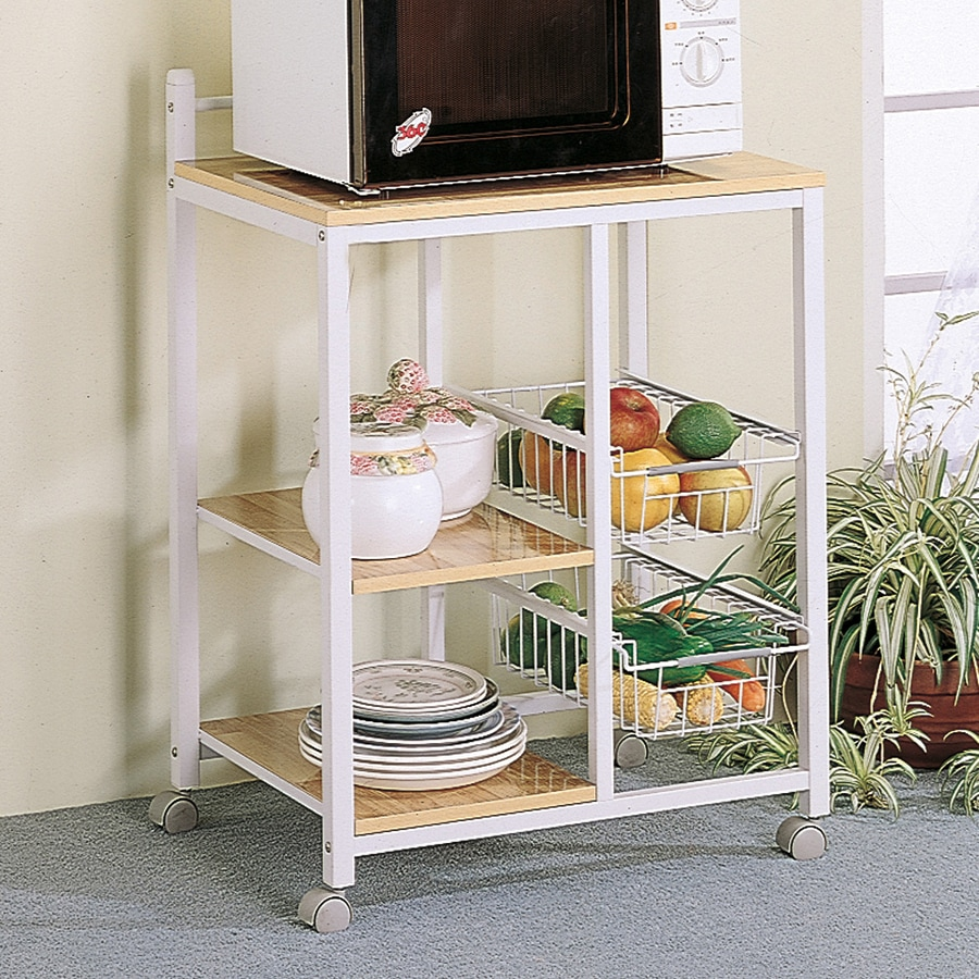 Coaster Fine Furniture Natural/White Rectangular Kitchen Cart