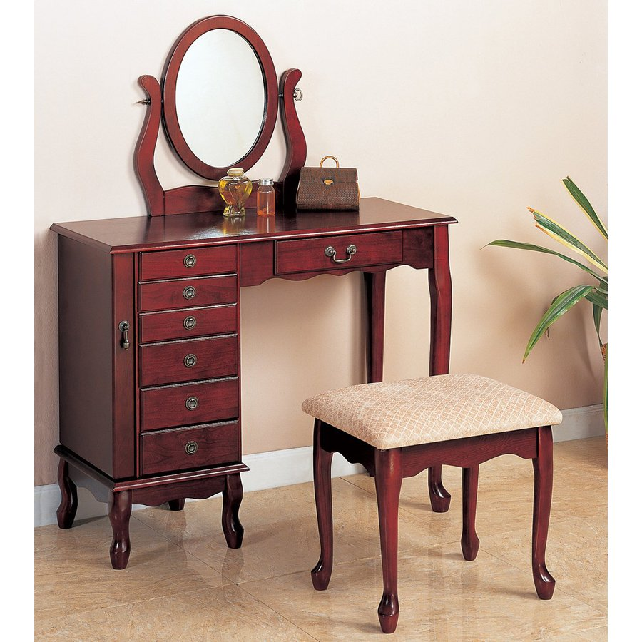 Shop Coaster Fine Furniture Cherry Makeup Vanity At Lowes Com