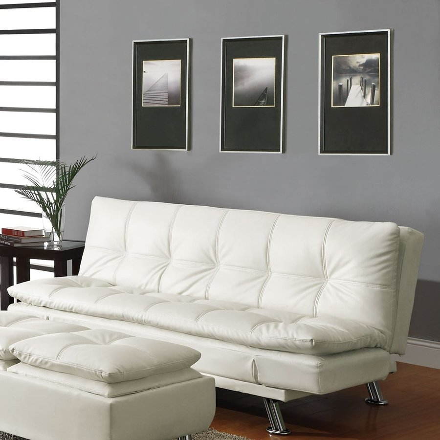 Coaster Fine Furniture White Vinyl Futon