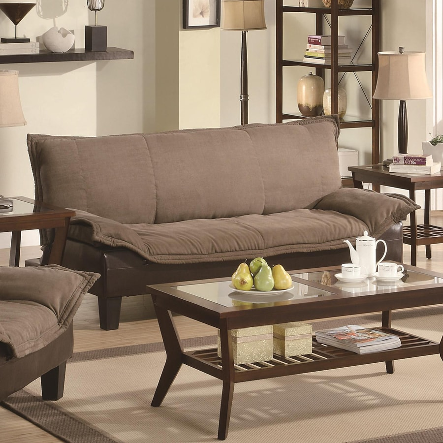Coaster Fine Furniture Tan/Dark Brown Microfiber Sofa Bed at Lowes.com