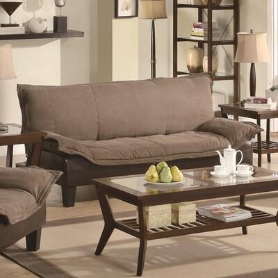 Tan/Dark Brown Microfiber Sofa Bed