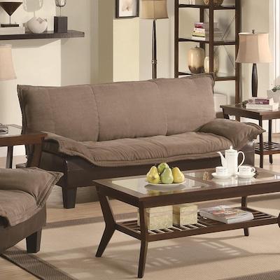 Outstanding Tan Dark Brown Microfiber Sofa Bed Evergreenethics Interior Chair Design Evergreenethicsorg