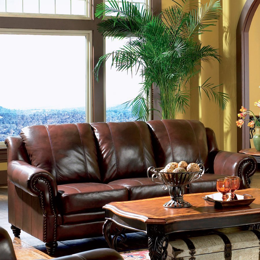 Coaster fine furniture princeton dark brown leather sofa - Black and brown living room furniture ...