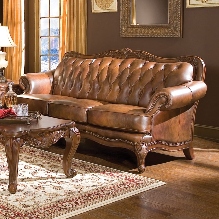 Bon Coaster Fine Furniture Victoria Victorian Brown Genuine Leather Sofa