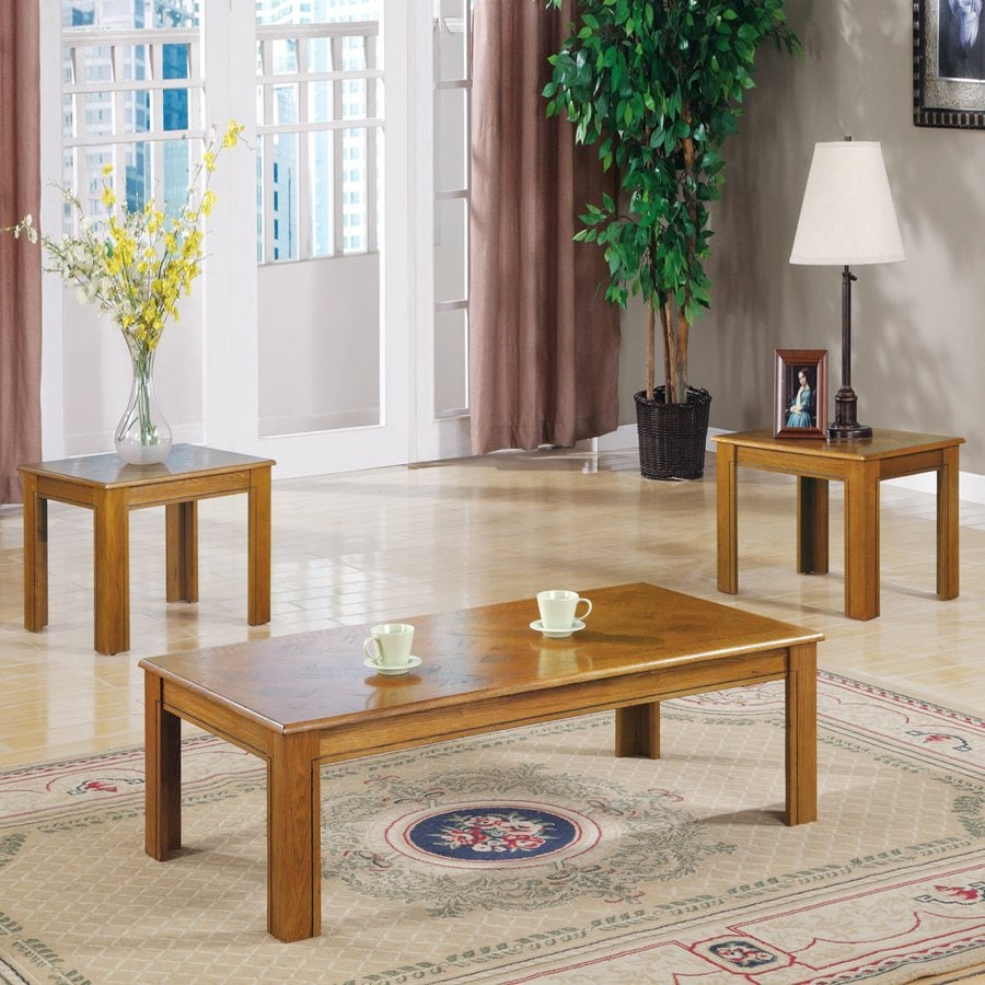 Coaster Fine Furniture 3 Piece Oak Accent Table Set At