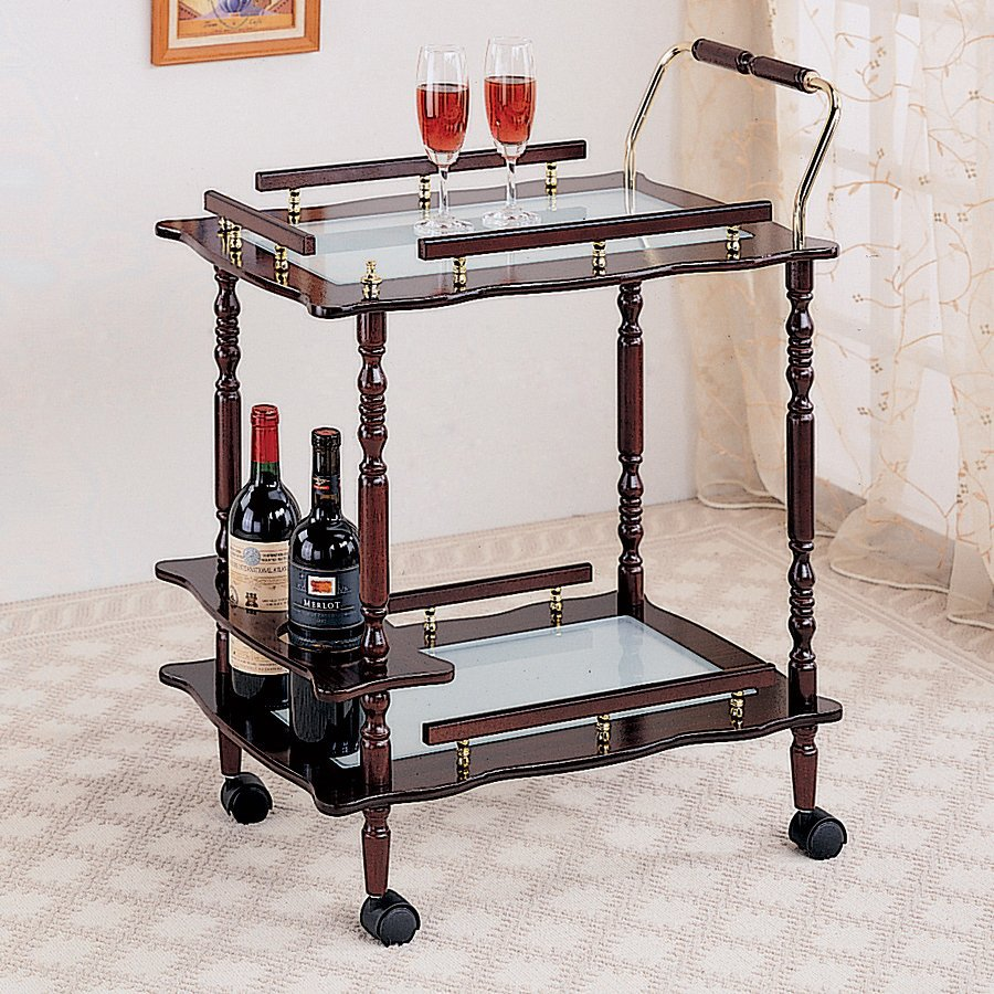 Coaster Fine Furniture 15.75-in x 31.25-in Rectangle Cart Bar