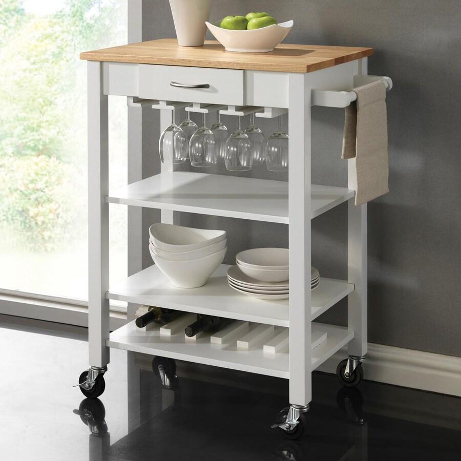 Coaster Fine Furniture White/Natural Rectangular Kitchen Cart