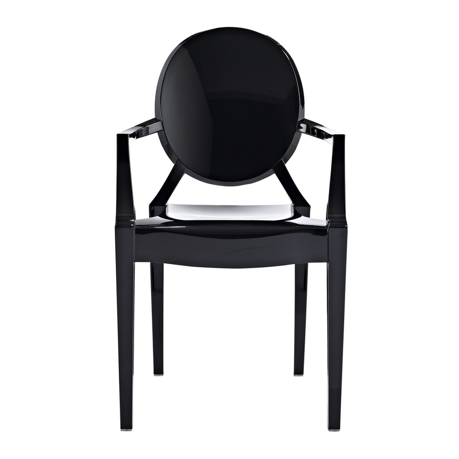 Modway Casper Gloss Black Stackable Arm Chair