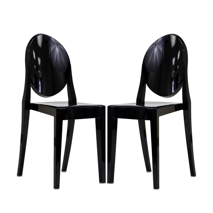 Modway Set of 2 Casper Black Stackable Arm Chair