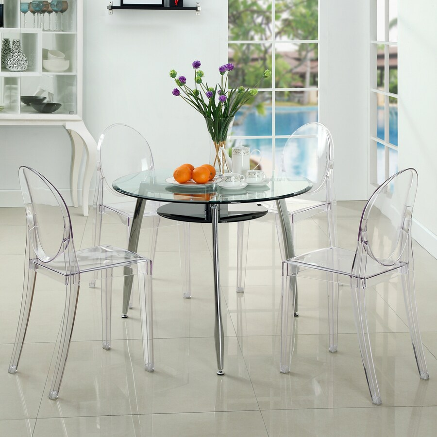 Modway Set of 4 Casper Clear Stackable Side Chair