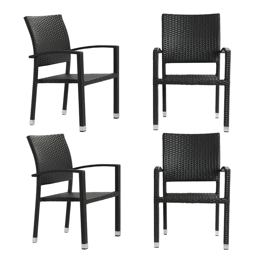 Modway Bella 4-Count Espresso Rattan Plastic Patio Dining Chairs