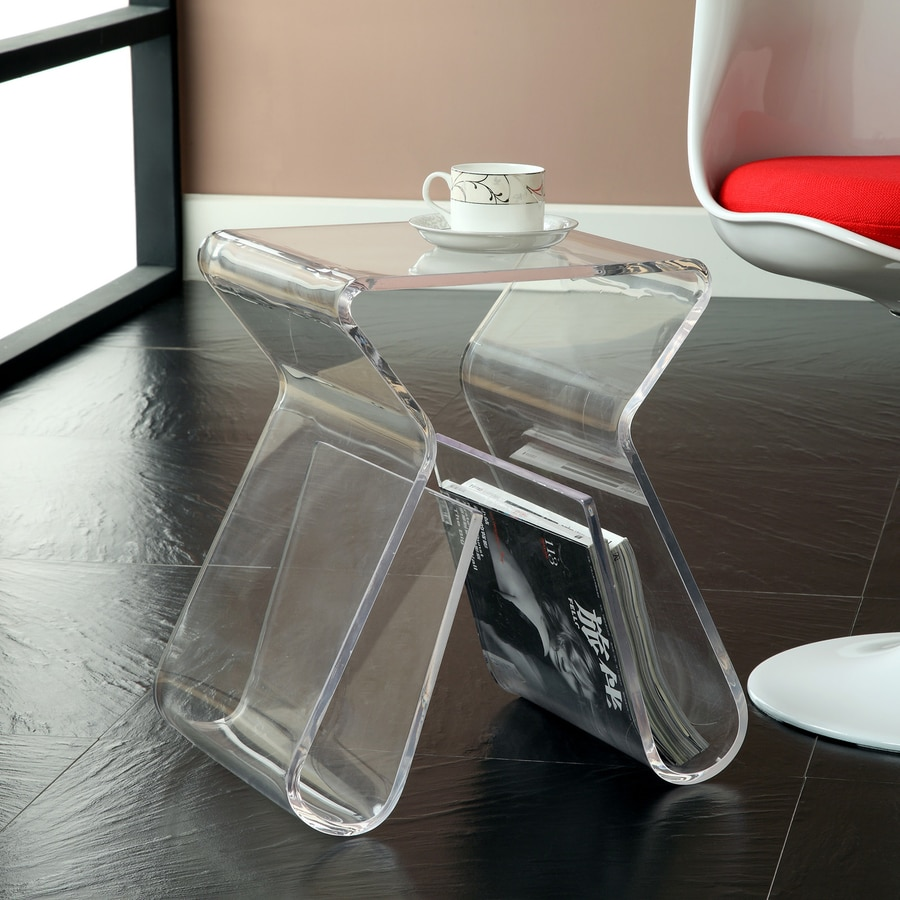 Modway Clear Plastic Square End Table