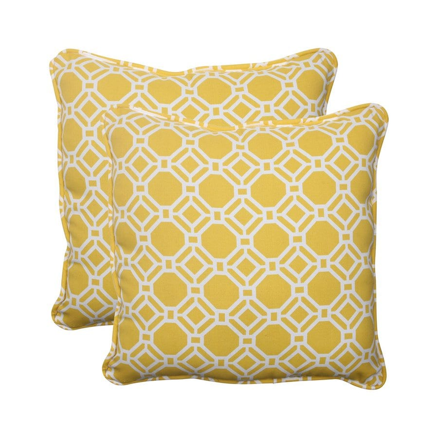 Shop Pillow Perfect Rossmere 2-Pack Yellow Geometric Square Outdoor Decorative Pillow at Lowes.com