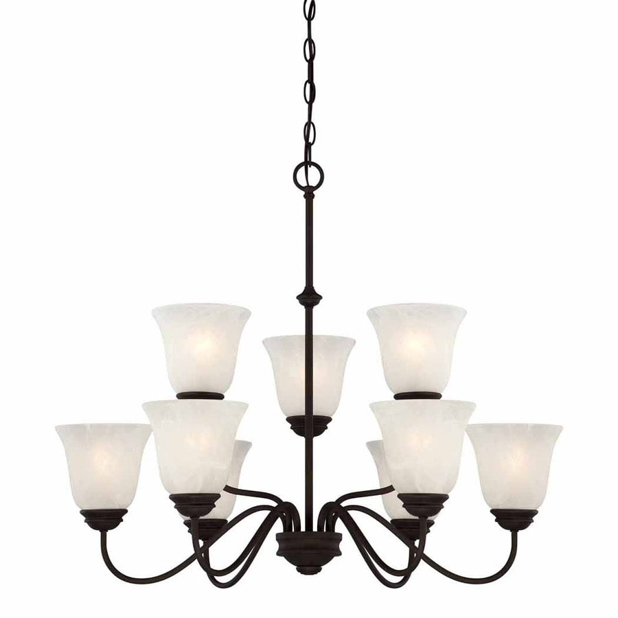 Volume International Hammond 30-in 9-Light Antique Bronze Alabaster Glass Shaded Chandelier