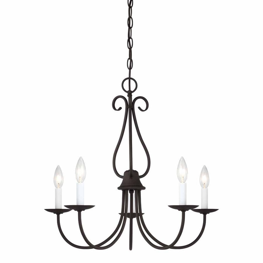 Volume International Minster 22.5-in 5-Light Antique Bronze Williamsburg Candle Chandelier