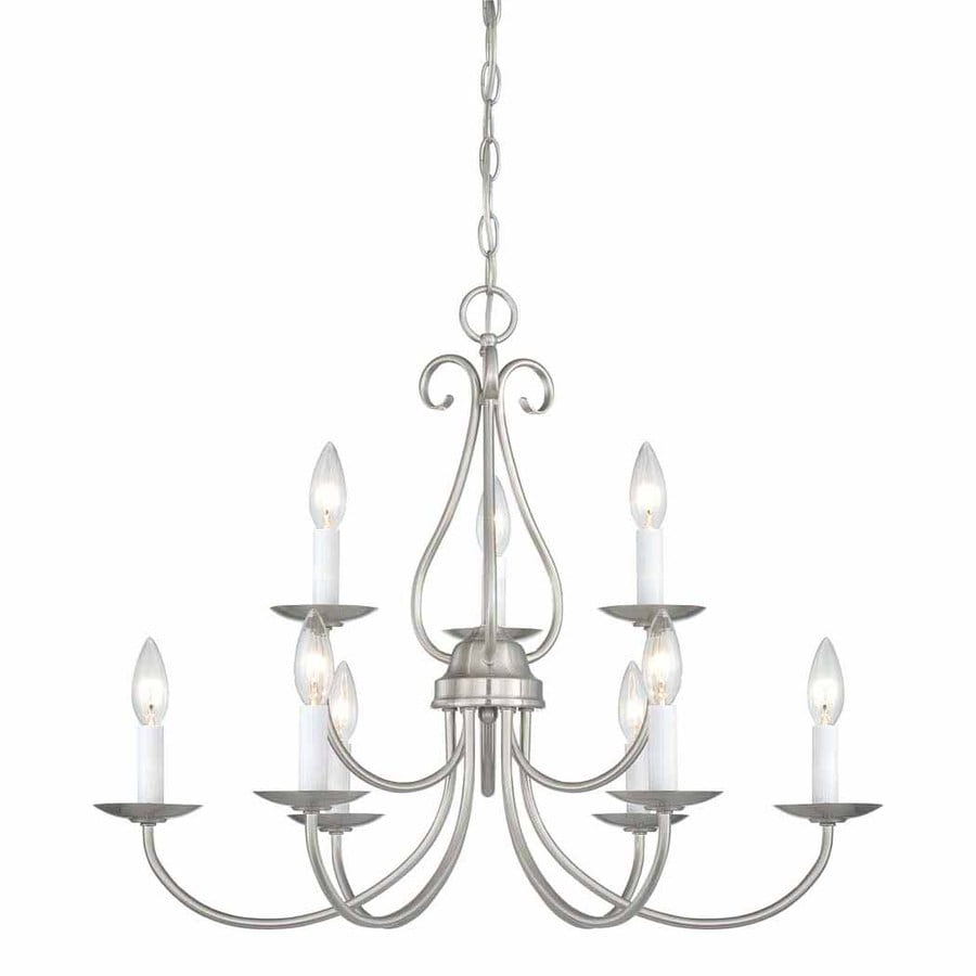 Volume International Minster 26-in 9-Light Brushed Nickel Williamsburg Tiered Chandelier