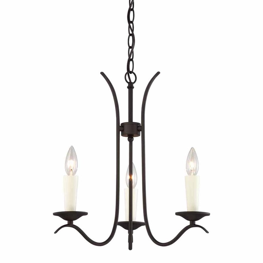 Volume International Greta 17.5-in 3-Light Antique Bronze Rustic Candle Chandelier