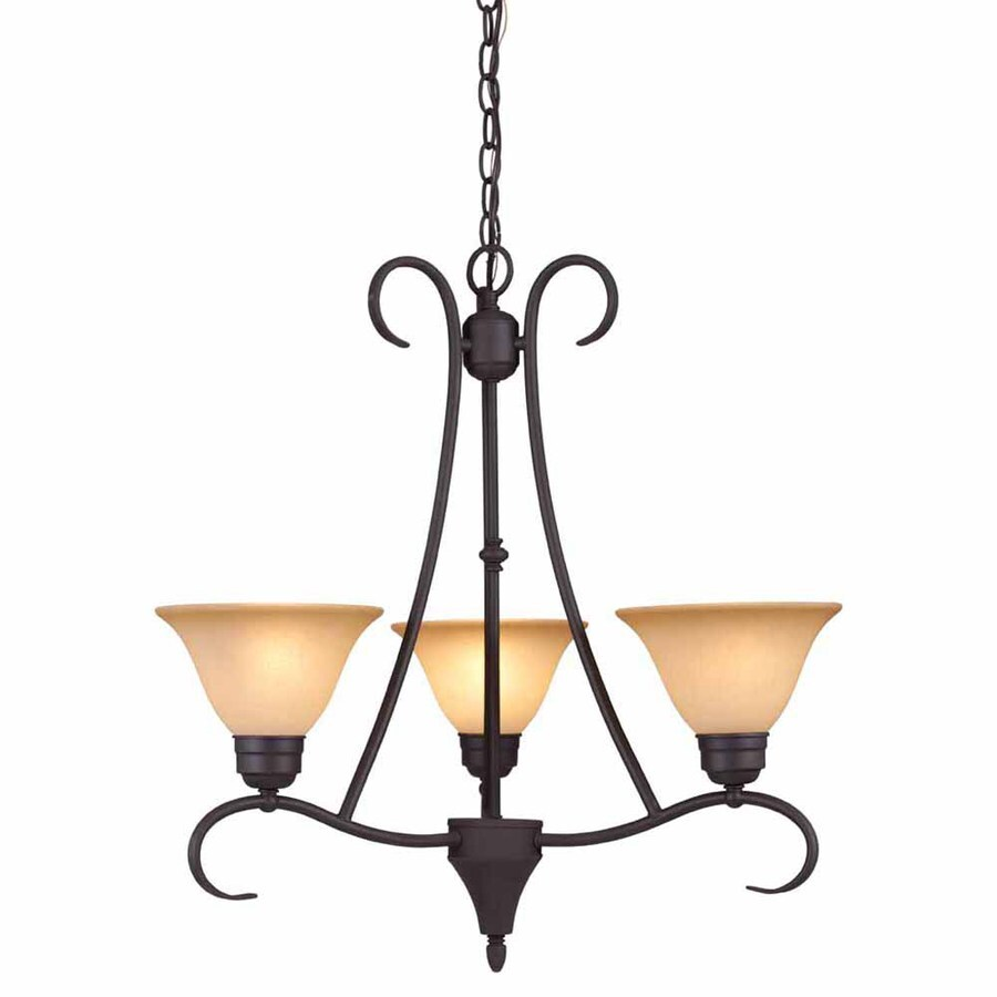 Volume International Windsor 22.5-in 3-Light Antique Bronze Mediterranean Tinted Glass Shaded Chandelier