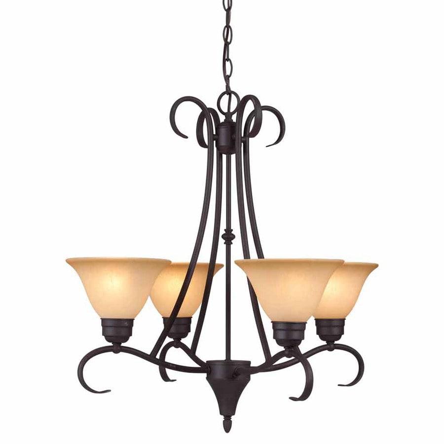 Volume International Windsor 22.5-in 4-Light Antique Bronze Mediterranean Tinted Glass Shaded Chandelier