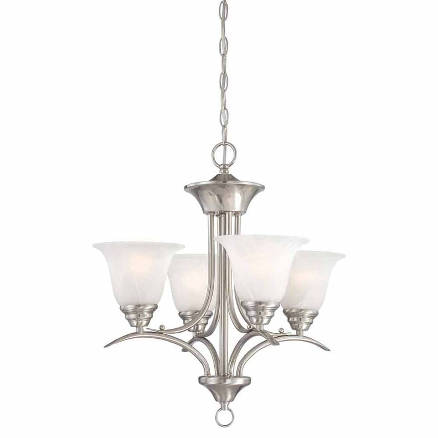Volume International Trinidad 19-in 4-Light Brushed Nickel Alabaster Glass Shaded Chandelier