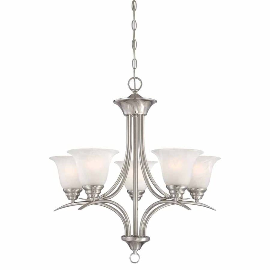 Volume International Trinidad 23.75-in 5-Light Brushed Nickel Alabaster Glass Shaded Chandelier