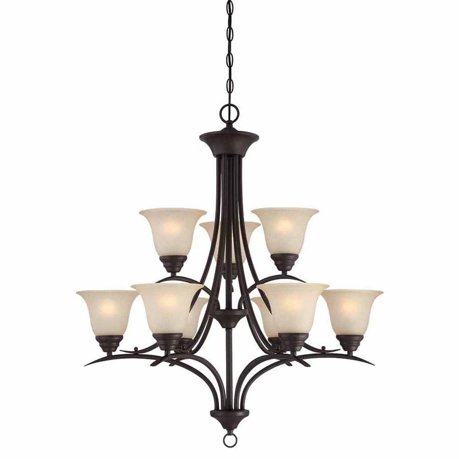 Volume International Trinidad 30-in 9-Light Antique Bronze Tinted Glass Tiered Chandelier