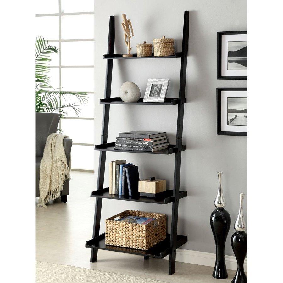 best design lowes shelves furniture black modern bookshelf bookcase ladder at