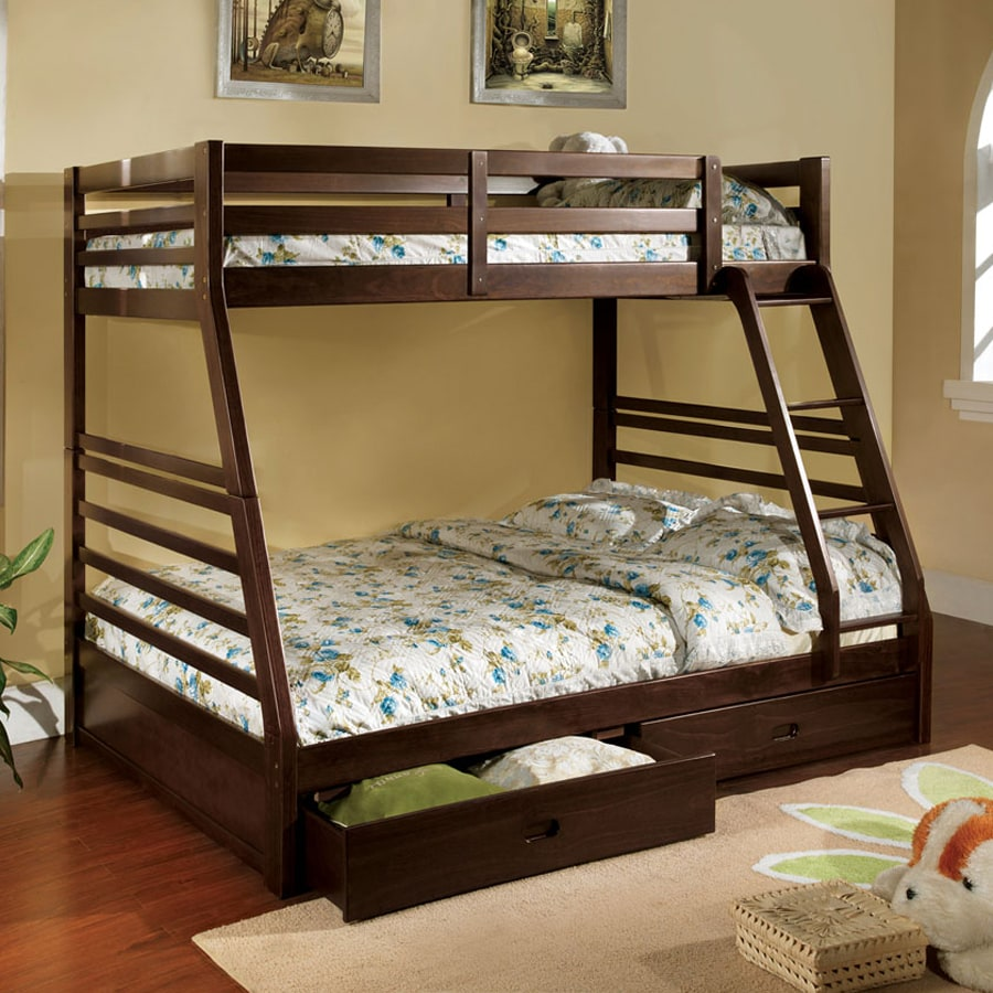 Furniture Of America California Dark Walnut Twin Over Full Bunk Bed