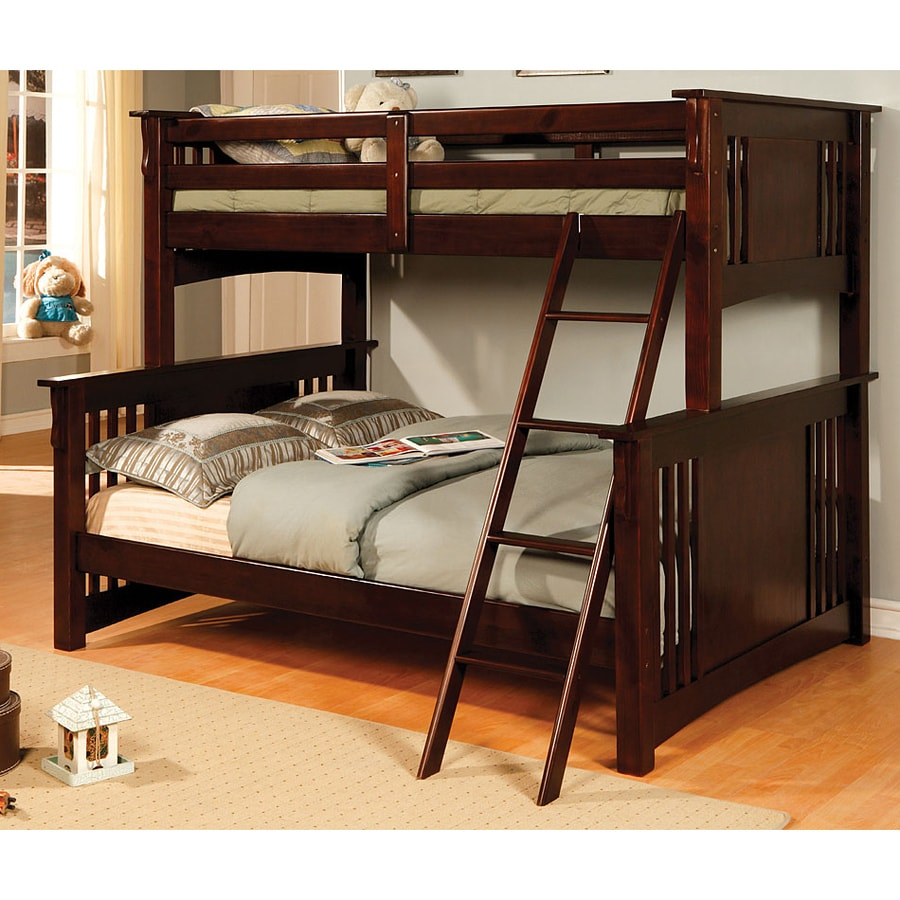 Shop Furniture Of America Spring Creek Dark Walnut Twin Over Full Bunk Bed At